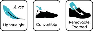 Lightweight, Convertible, Removable Footbed icons