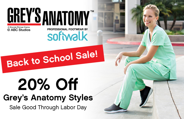 Grey's Anatomy Back to School Sale. 20% off Grey's Anatomy Styles. Sale Good Through Labor Day