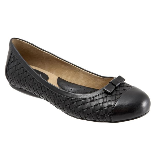 Women's Ballet Flats/SoftWalk Naperville Dark Brown Woven Soft Nappa Leather